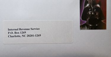 Internal Revenue Service Envelope With Darth Vader Stamp