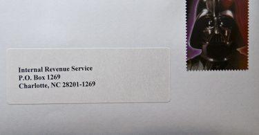 Internal Revenue Service Envelope With Darth Vader Stamp